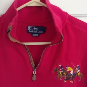 Polo 1/4 zip rugby shirt, red with embroidery, med